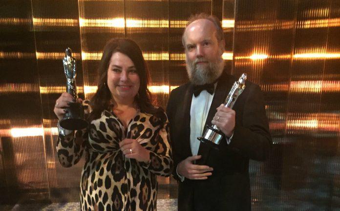 Jane Magnusson och Peter Hjorth vid gårdagkvällens EFA-gala i Sevilla.